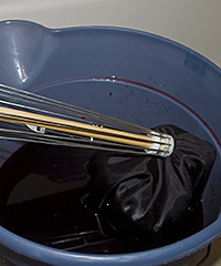 Fabric and Lace into the dye bath
