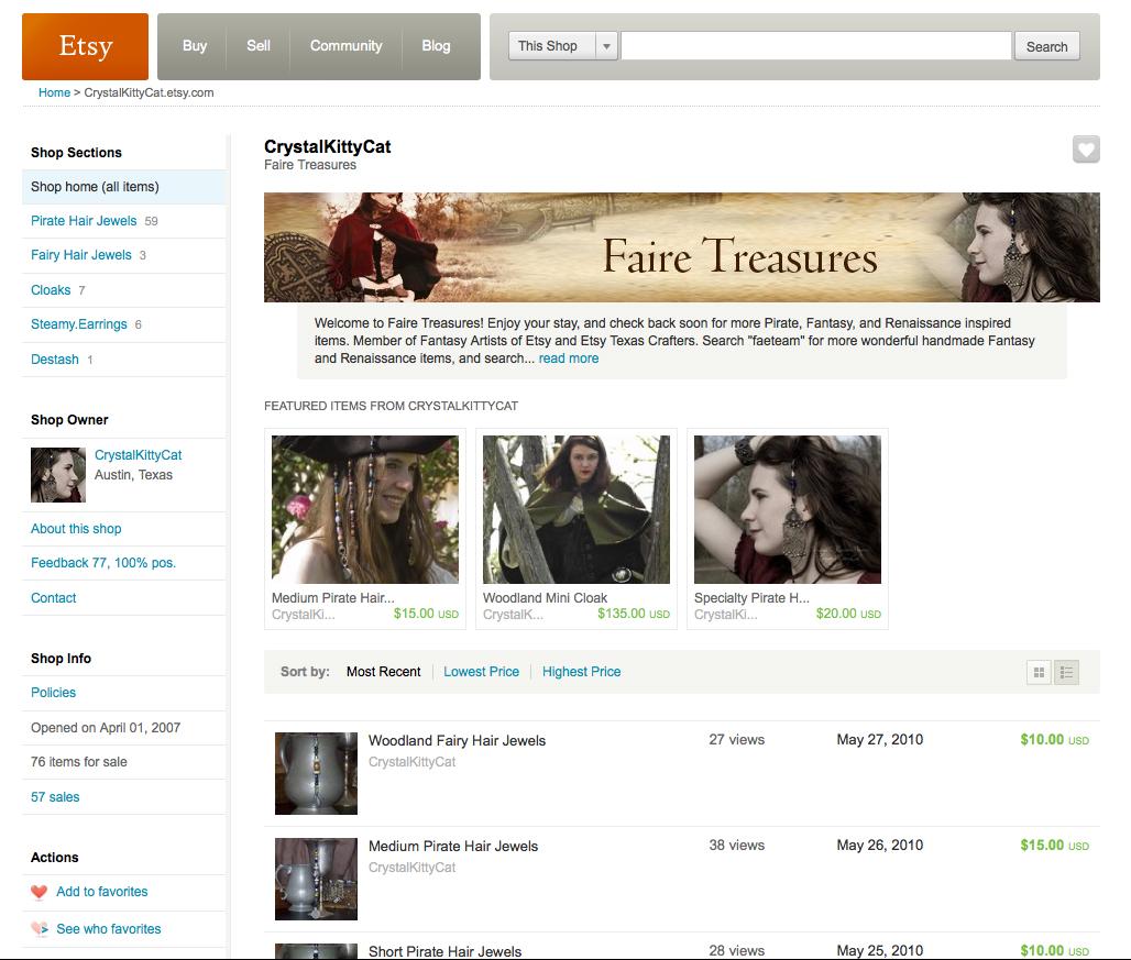 Faire Treasures on Etsy