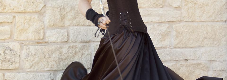 Gothic Steampunk Black Satin Ruffle Skirt