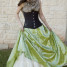 Green Pintuck Taffeta Long Skirt