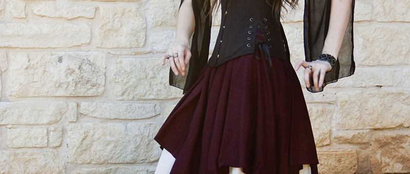 Dark Purple Linen Pixie Skirt